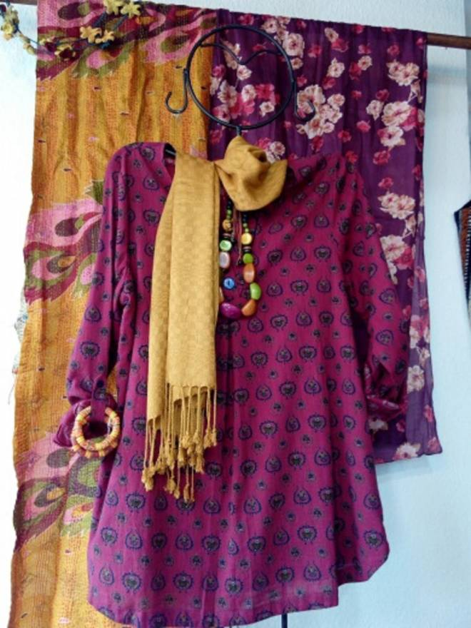 Hand woven cotton tunic and toning scarf, one of a selection.
